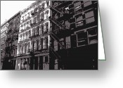 Row House Fire Escapes In New York Greeting Cards - Fire Escapes BW3 Greeting Card by Scott Kelley