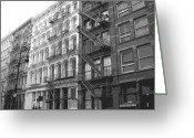 Row House Fire Escapes In New York Greeting Cards - Fire Escapes BW6 Greeting Card by Scott Kelley