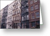 Row House Fire Escapes In New York Greeting Cards - Fire Escapes Color 16 Greeting Card by Scott Kelley