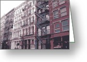 Row House Fire Escapes In New York Greeting Cards - Fire Escapes Color 6 Greeting Card by Scott Kelley
