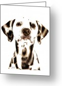 Pet Portrait Drawings Greeting Cards - Fire Fighters Best Friend Greeting Card by Sheryl Unwin
