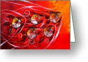 Violet Greeting Cards - Fire Fish Five Greeting Card by J Vincent Scarpace