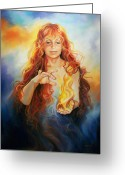 Fire Pastels Greeting Cards - Fire Greeting Card by Gin Lammert