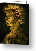 Oil Lamp Greeting Cards - Fire Greeting Card by Giuseppe Arcimboldo
