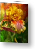 Iris Art Mixed Media Greeting Cards - Fire Goddess Greeting Card by Carol Cavalaris