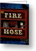 Fire Hose Greeting Cards - Fire Hose Greeting Card by Cheryl Young