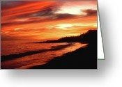 Cape Cod Mass Photo Greeting Cards - Fire in Sky Greeting Card by Joann Vitali