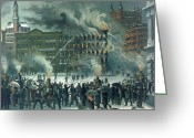 Fighters Painting Greeting Cards - Fire in the New York World Building Greeting Card by American School