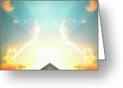 Droid Greeting Cards - Fire In The Sky  #android # Andrography Greeting Card by Marianne Dow