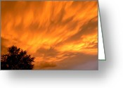 Sunset Greeting Cards Mixed Media Greeting Cards - Fire In The Sky Greeting Card by Connie Dye
