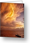 Stunning Greeting Cards - Fire in the Sky Greeting Card by David Bowman