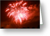 Fire Works Greeting Cards - Fire In The Sky Greeting Card by Monica Werner