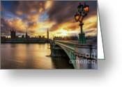 Art Of Building Greeting Cards - Fire In The Sky Greeting Card by Yhun Suarez