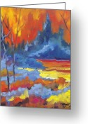 Landscape Painter Greeting Cards - Fire Lake Greeting Card by Richard T Pranke