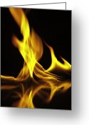 Framed Drawings Greeting Cards - Fire on the water Greeting Card by M K  Miller