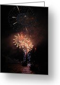 Pyrotechnics Greeting Cards - Fire over Water Greeting Card by Luis Esteves