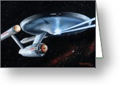 Captain Greeting Cards - Fire Phasers Greeting Card by Kim Lockman