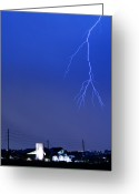 Lightning Bolt Pictures Greeting Cards - Fire Rescue Station 67  Lightning Thunderstorm 2C Greeting Card by James Bo Insogna