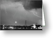 Lightning Bolt Pictures Greeting Cards - Fire Rescue Station 67  Lightning Thunderstorm Black and White Greeting Card by James Bo Insogna