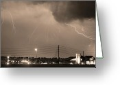 Lightning Bolt Pictures Greeting Cards - Fire Rescue Station 67  Lightning Thunderstorm Sepia Black and W Greeting Card by James Bo Insogna