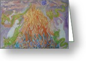 Fire Dance Painting Greeting Cards - Fire Spirit Greeting Card by Melodie Peterson