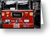 The City Greeting Cards - Fire Truck Color 6 Greeting Card by Scott Kelley