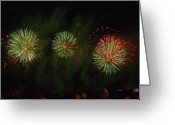 Pyrotechnics Digital Art Greeting Cards - FIRE WORKS FRANCEshow Painting Greeting Card by Dawn Hay