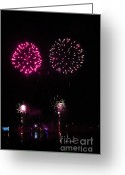 4th July Greeting Cards - Fire works Greeting Card by Yumi Johnson