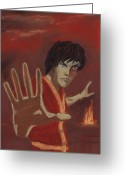 Fire Pastels Greeting Cards - Firebending Greeting Card by Anastasiya Malakhova
