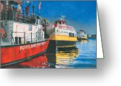 Maine Painting Greeting Cards - Fireboat and Ferries Greeting Card by Dominic White