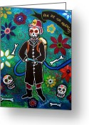 Cartera Greeting Cards - Firefighter Day Of The Dead Greeting Card by Pristine Cartera Turkus