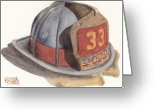 Ken Greeting Cards - Firefighter Helmet With Melted Visor Greeting Card by Ken Powers