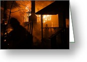 Pacific Coast States Greeting Cards - Firefighters Spray Down A Burning House Greeting Card by Mark Thiessen