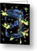 Ball Jar Greeting Cards - Fireflies Greeting Card by Russell Pierce