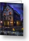 Ghosts Greeting Cards - Firefly Inn Greeting Card by Joel Payne