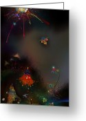 Mushrooms Greeting Cards - Firefly Me To The Moon Greeting Card by Bernie  Lee
