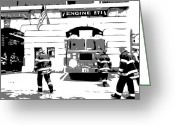 The Capital Of The World Greeting Cards - Firehouse BW3 Greeting Card by Scott Kelley