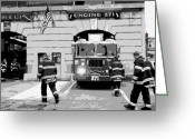 The Capital Of The World Greeting Cards - Firehouse BW6 Greeting Card by Scott Kelley