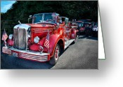 Firefighter Greeting Cards - Fireman - 1949 and it still runs  Greeting Card by Mike Savad