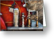 Fire Photo Greeting Cards - Fireman - An Assortment of Nozzles Greeting Card by Mike Savad