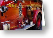 Leatherhead Greeting Cards - Fireman - Engine no 2  Greeting Card by Mike Savad