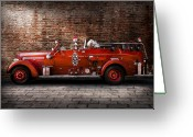 Fire Hose Greeting Cards - Fireman - FGP Engine No2 Greeting Card by Mike Savad