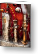 Firefighter Greeting Cards - Fireman - Fighting Fires  Greeting Card by Mike Savad