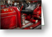 Fire Hose Greeting Cards - Fireman - Fire Engine No 3 Greeting Card by Mike Savad