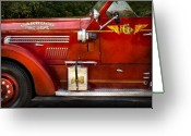 Fire Hose Greeting Cards - Fireman - Garwood Fire Dept Greeting Card by Mike Savad