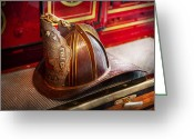 Fire Hose Greeting Cards - Fireman - Hat - Commander  Greeting Card by Mike Savad