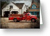 Fire Hose Greeting Cards - Fireman - Newark fire company Greeting Card by Mike Savad
