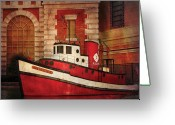 Firewomen Greeting Cards - Fireman - NY - The fire boat Greeting Card by Mike Savad