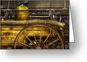 Fire Hose Greeting Cards - Fireman - Piano Engine - 1855  Greeting Card by Mike Savad