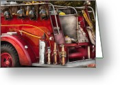 Leatherhead Greeting Cards - Fireman - Ready for a fire Greeting Card by Mike Savad